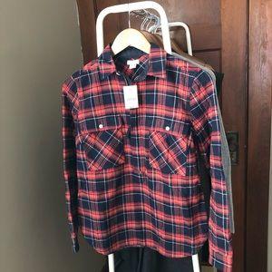 NWT J.Crew Factory XXS plaid flannel popover shirt